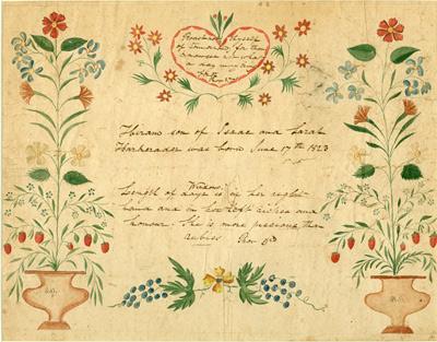 1984.20 - Fraktur celebrating the birth of Hiram, son of Issac and Sarah Harkrader, 1823.   Gift of John W. Harkrader
