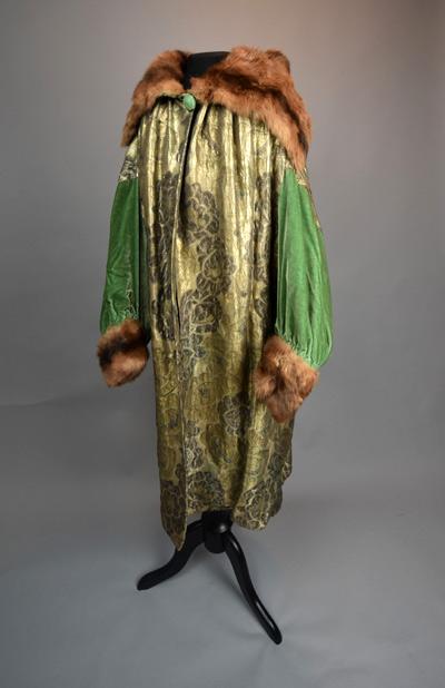Green velvet evening coat