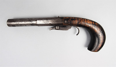 2001.6.1 - Underhammer 'boot' pistol made by John Painter of Botetourt County, c.1850-1860.  Museum Purchase.