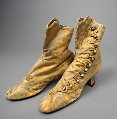 1986.45.40 - Silk brocade boots, c. 1900.  Bequest of the Horton Estate